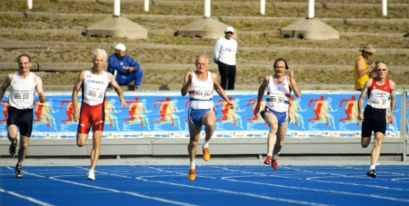 That 200m final. Steve centre. (By Ken Stone)