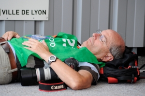 Not me, but a colleague catches some rest in Lyon!